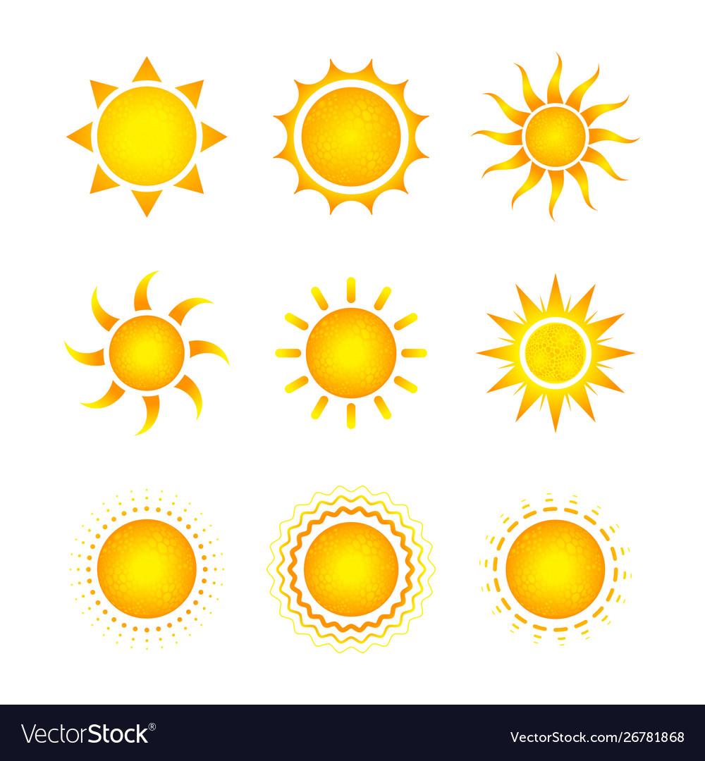Set nine different bright sun icons on white