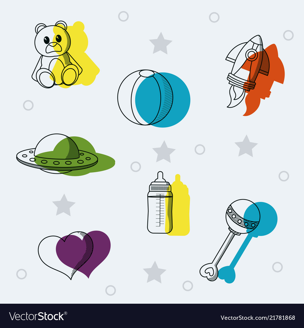 Set of baby toys doodles