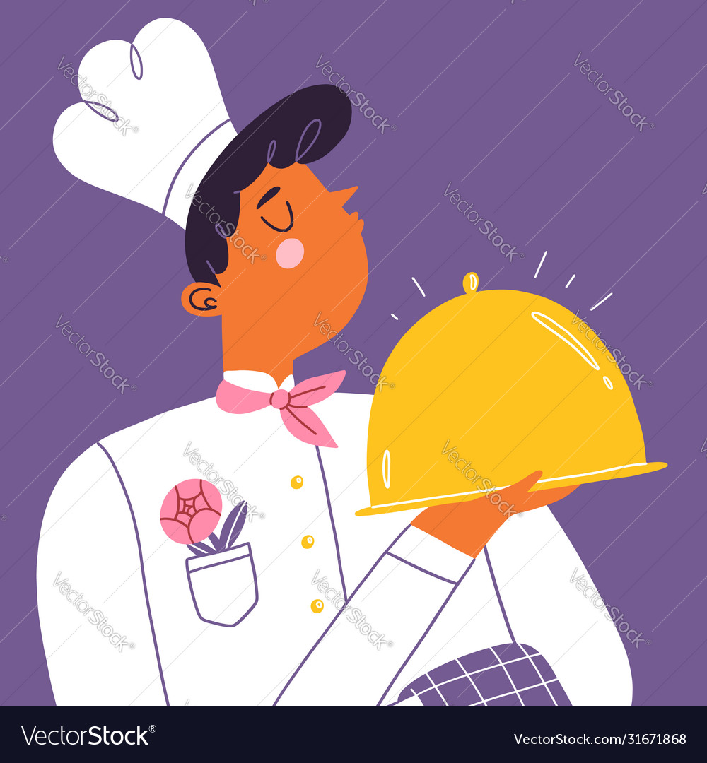 Young chef cook with a shiny golden tray cartoon
