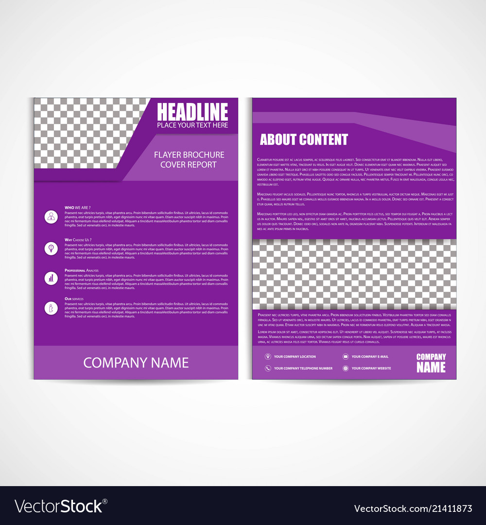 Abstract purple color flyer template size a4
