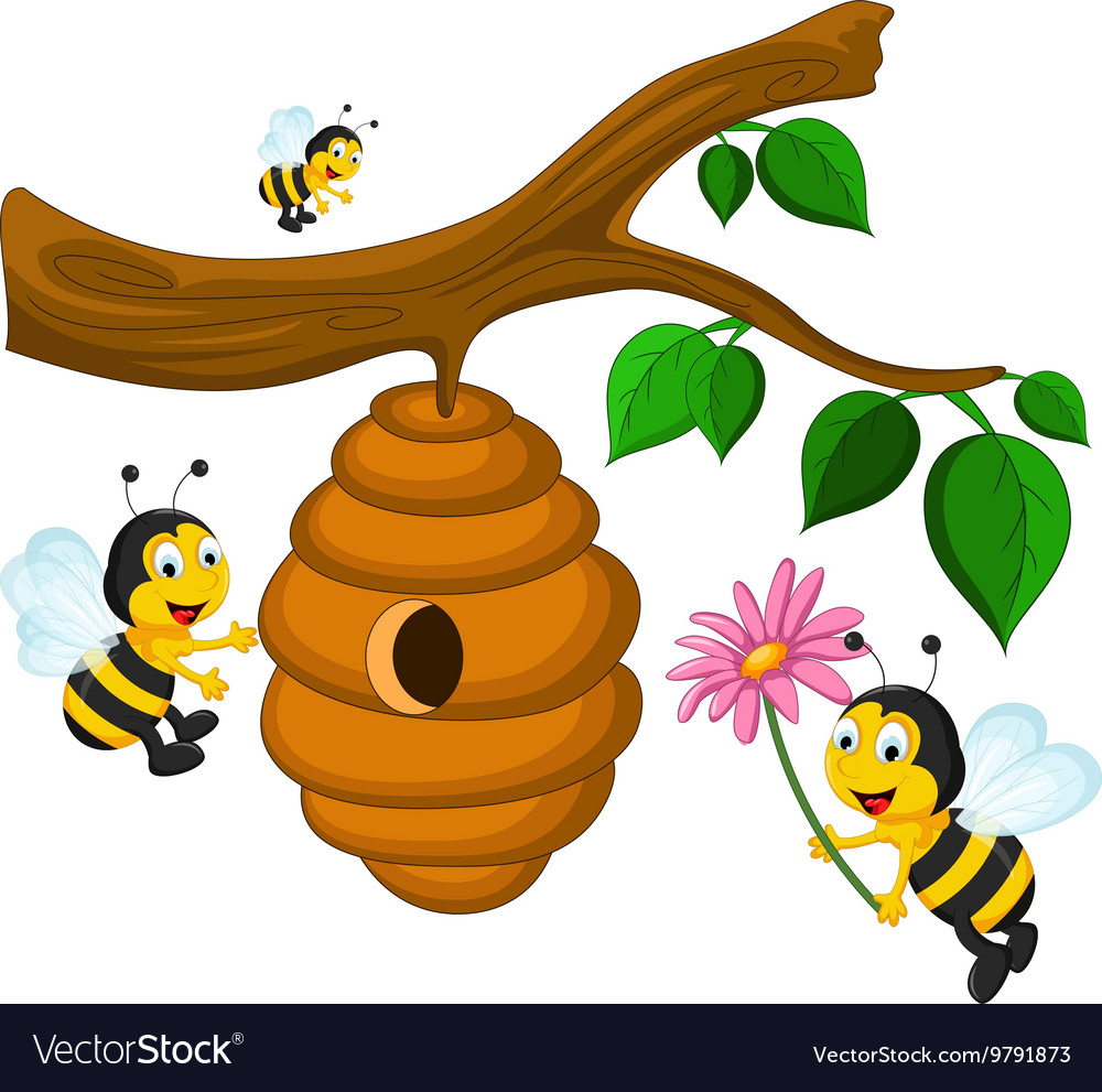bees cartoon holding flower and a beehive vector image rh vectorstock com cartoon beehive hair cartoon bee hive drawings