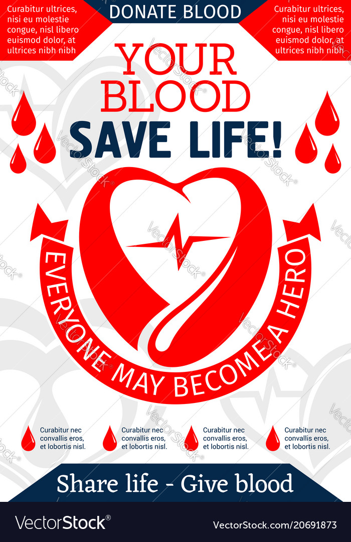 Blood donation poster for health charity design vector image altavistaventures Image collections
