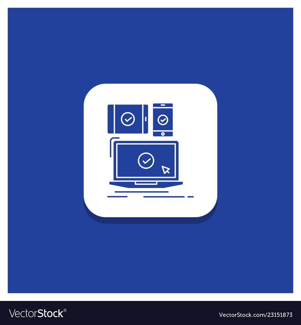 Blue round button for computer devices mobile