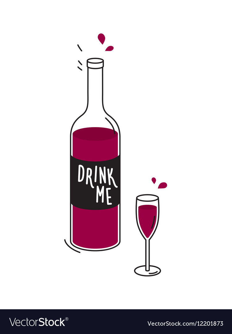 Bottle of red wine and wineglass Drawing vector image