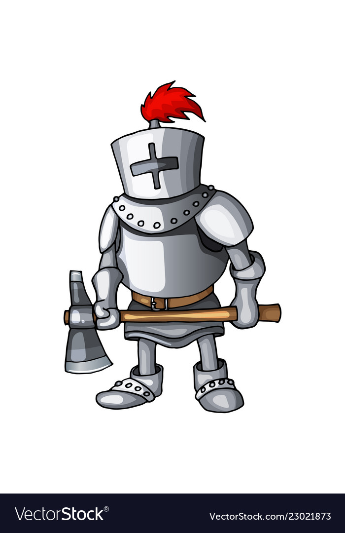 Cartoon knight full body armor suit standing with