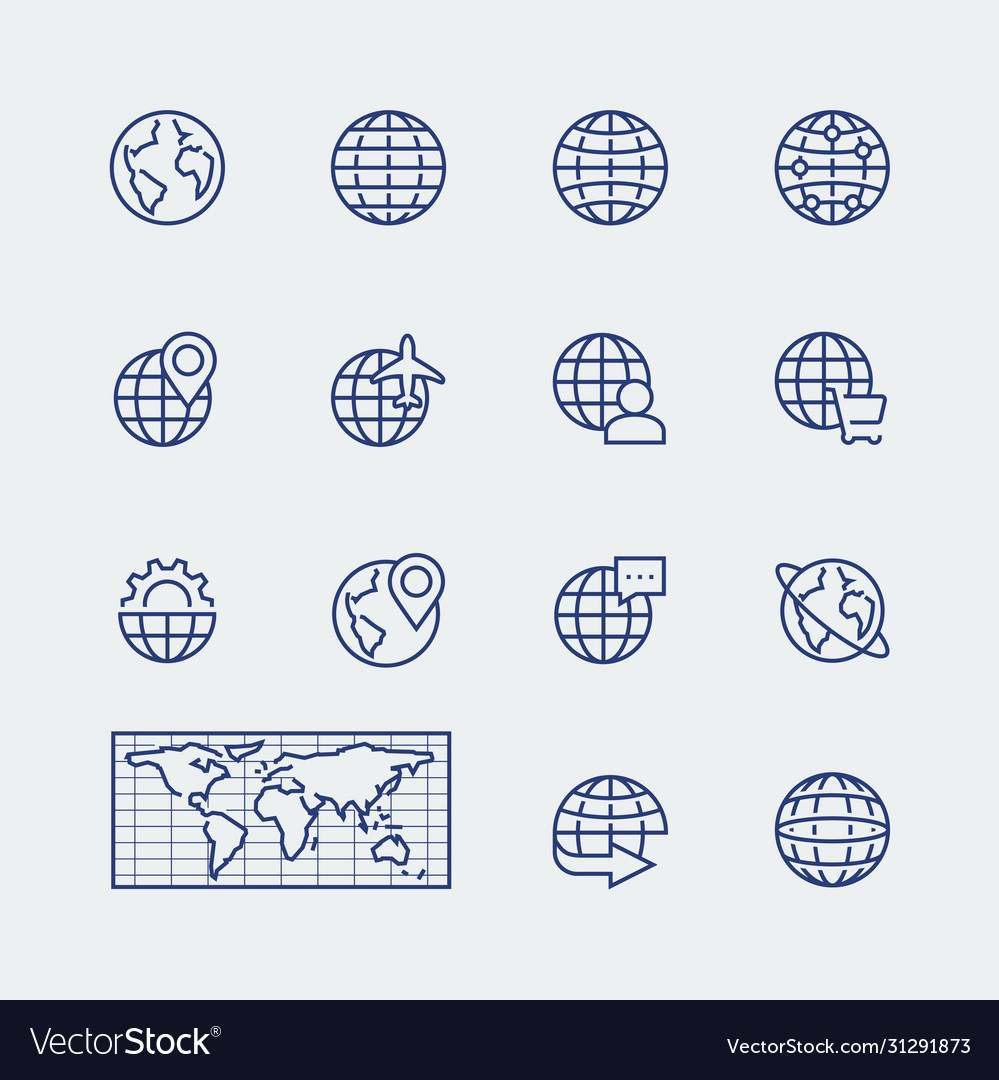 Earth planet globe icons set in thin line style