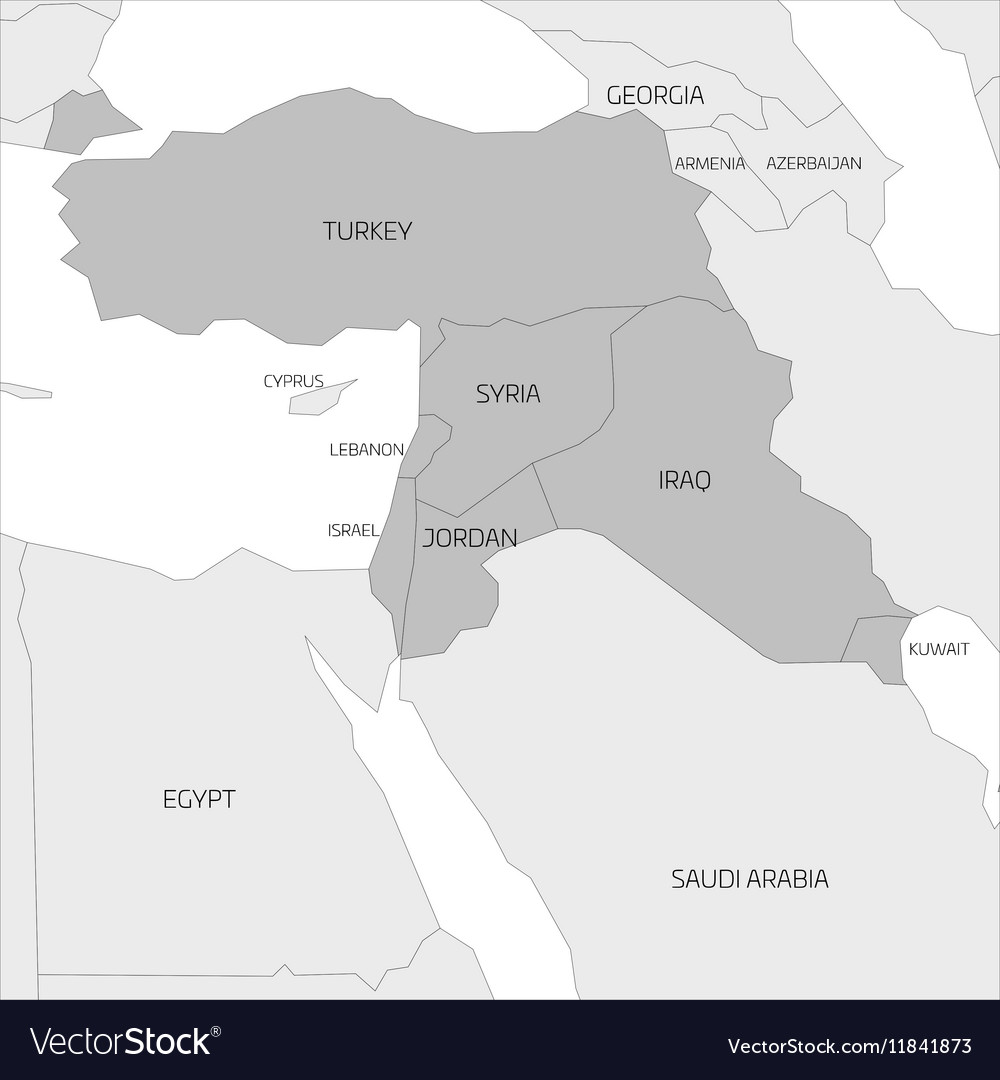 Map of Middle East region Royalty Free Vector Image