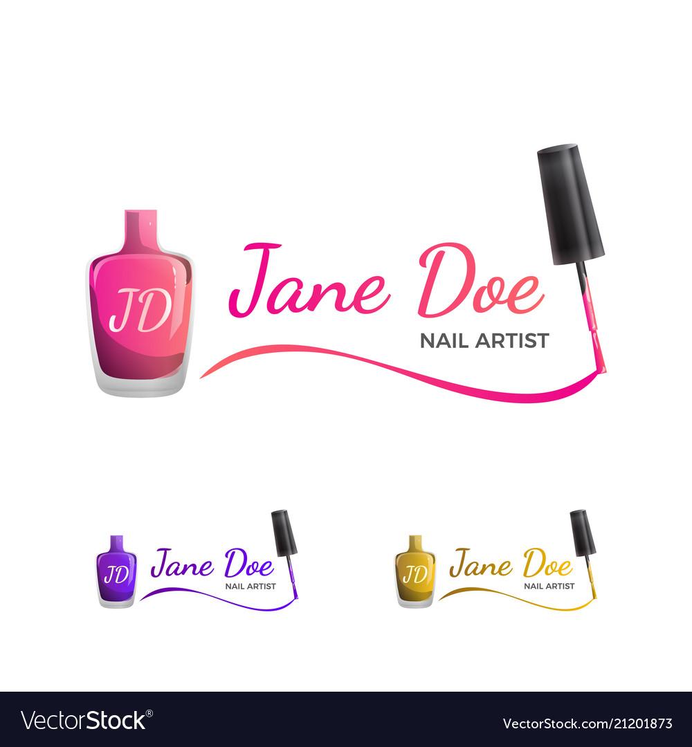 Nail art logo template with nail polish Royalty Free Vector