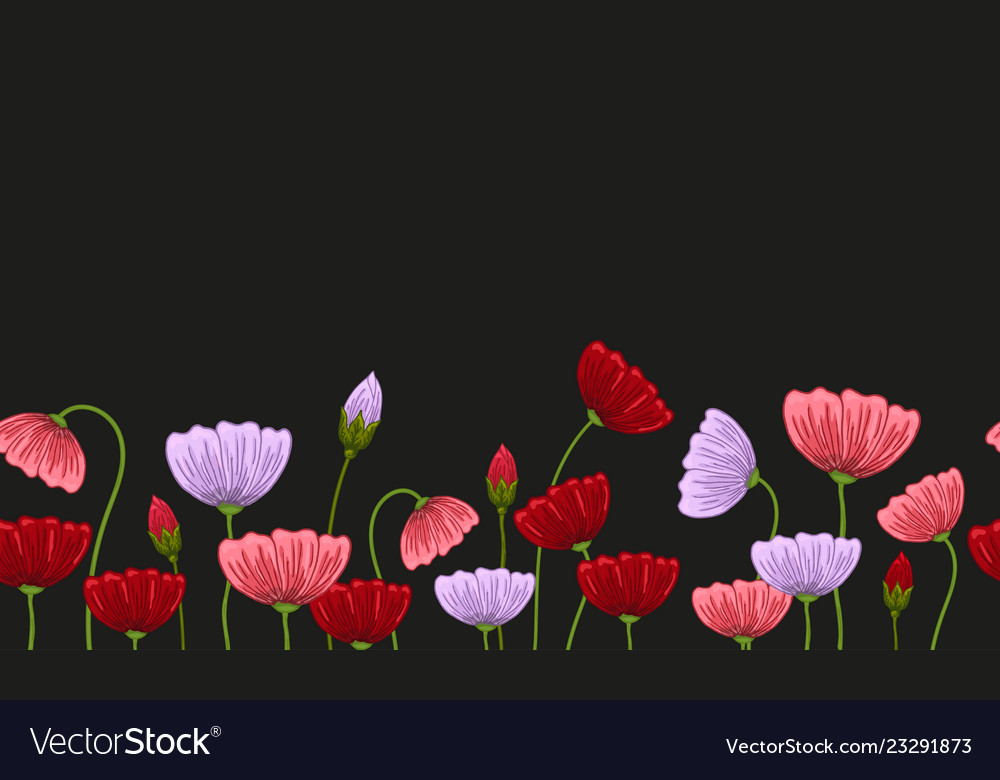 Seamless border with romantic flowers elements