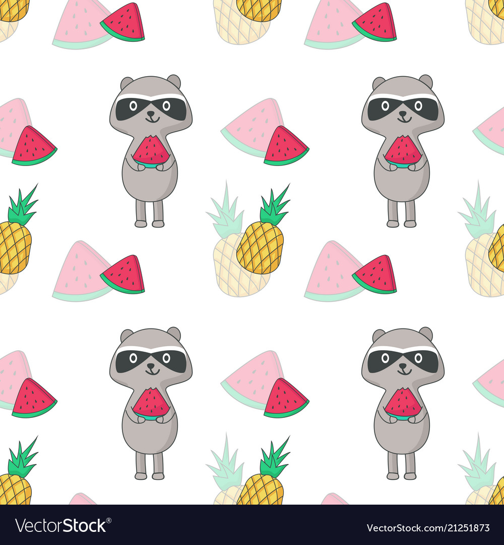 Summer seamless pattern with raccoon