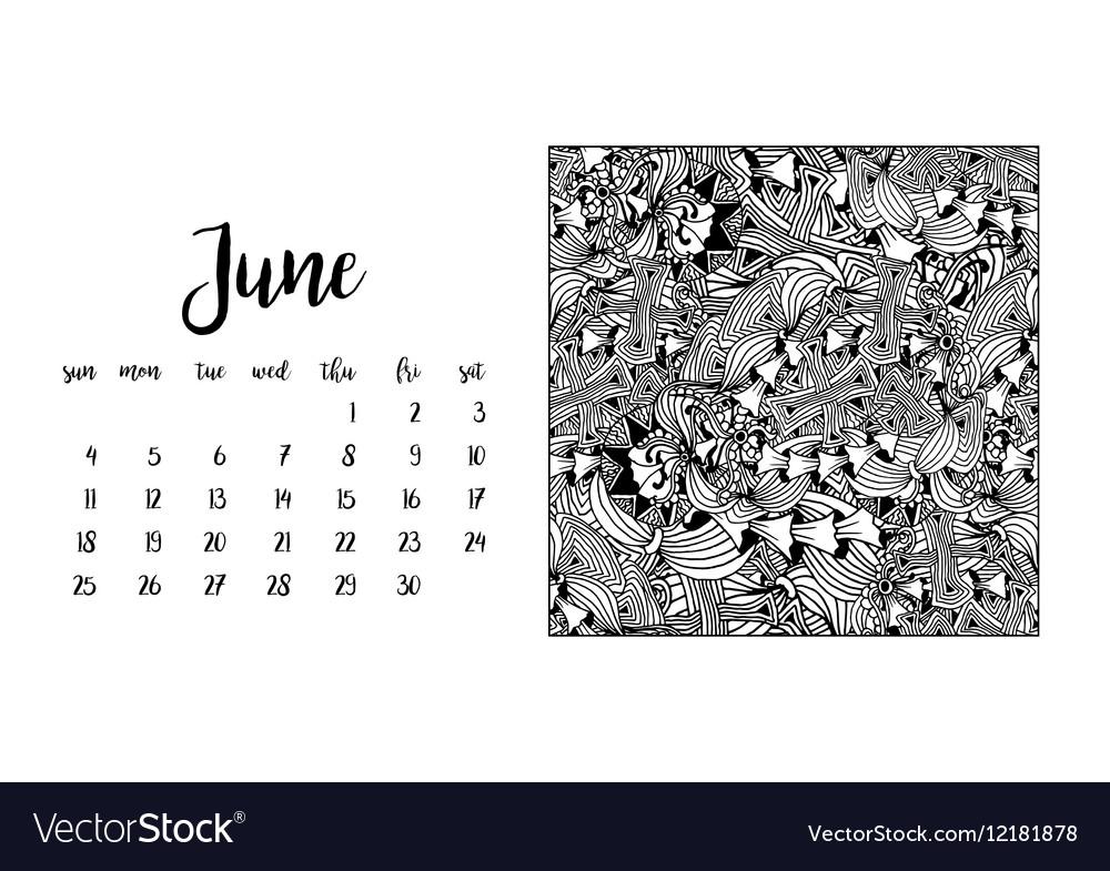 desk calendar template for month june royalty free vector