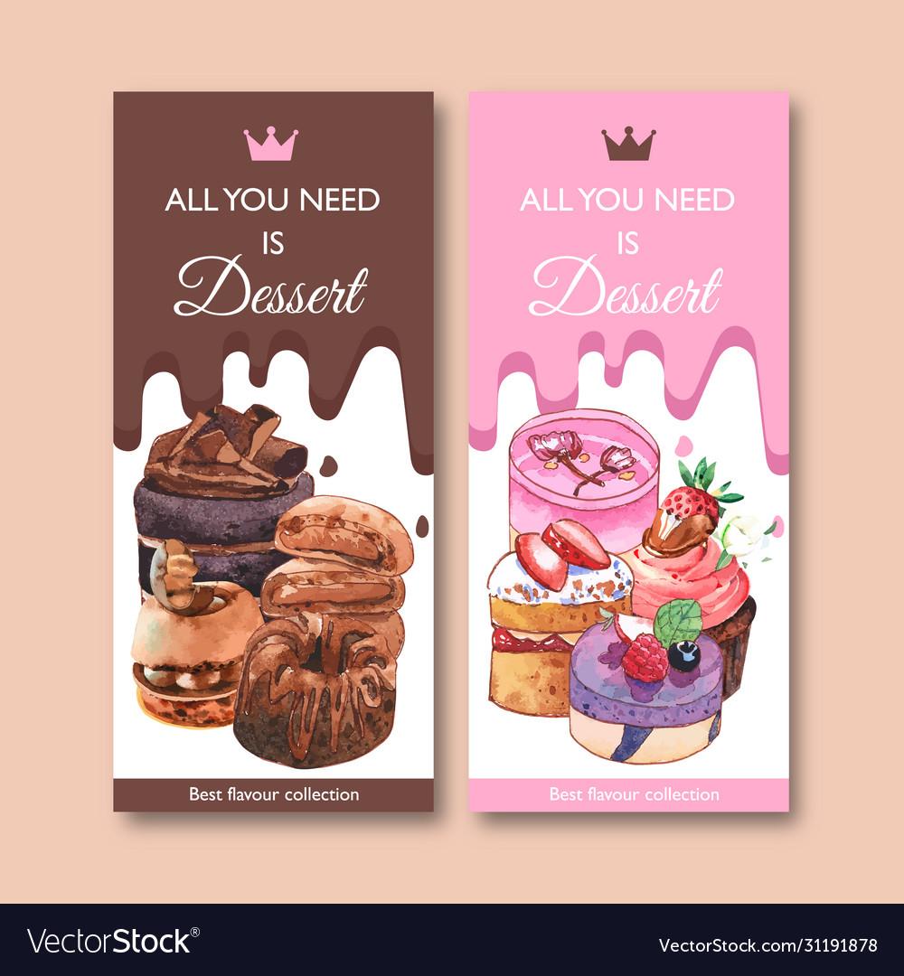 Dessert flyer design with chocolate cake cupcake