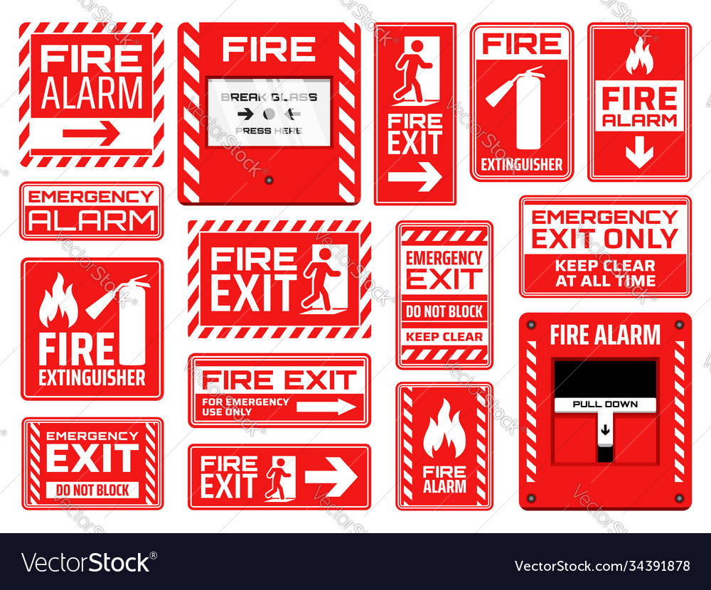 Fire emergency exit extinguisher and alarm signs
