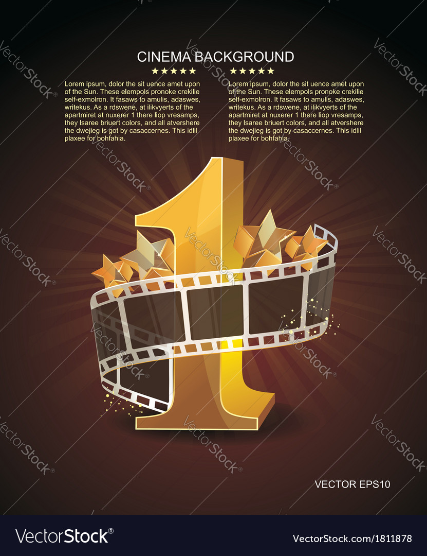 Gold number 1 with twisted filmstrip against dark