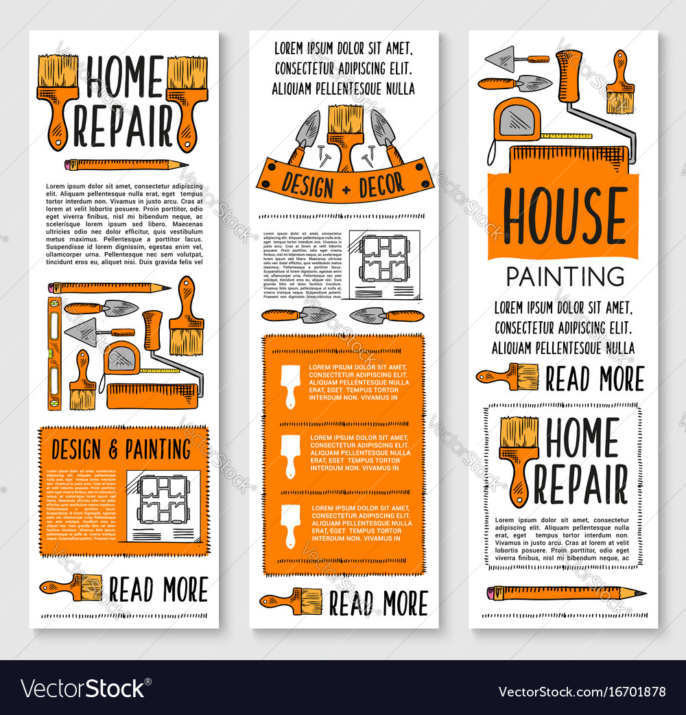 Home repair painting interior design banner set vector image