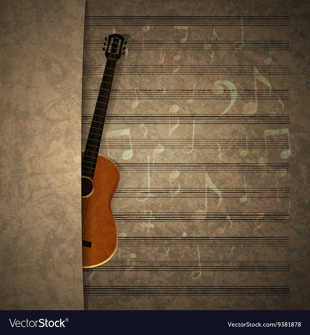 Musical background guitar on old sheet music