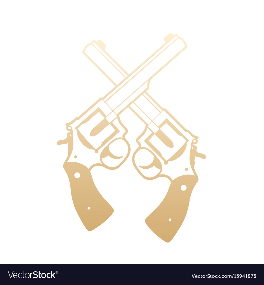 Revolvers crossed handguns gold over white vector image