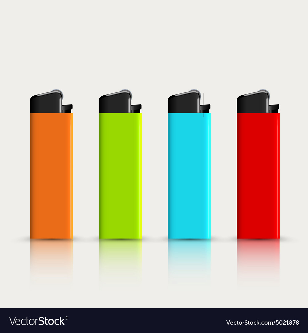 Set of colorful lighters with reflection vector image