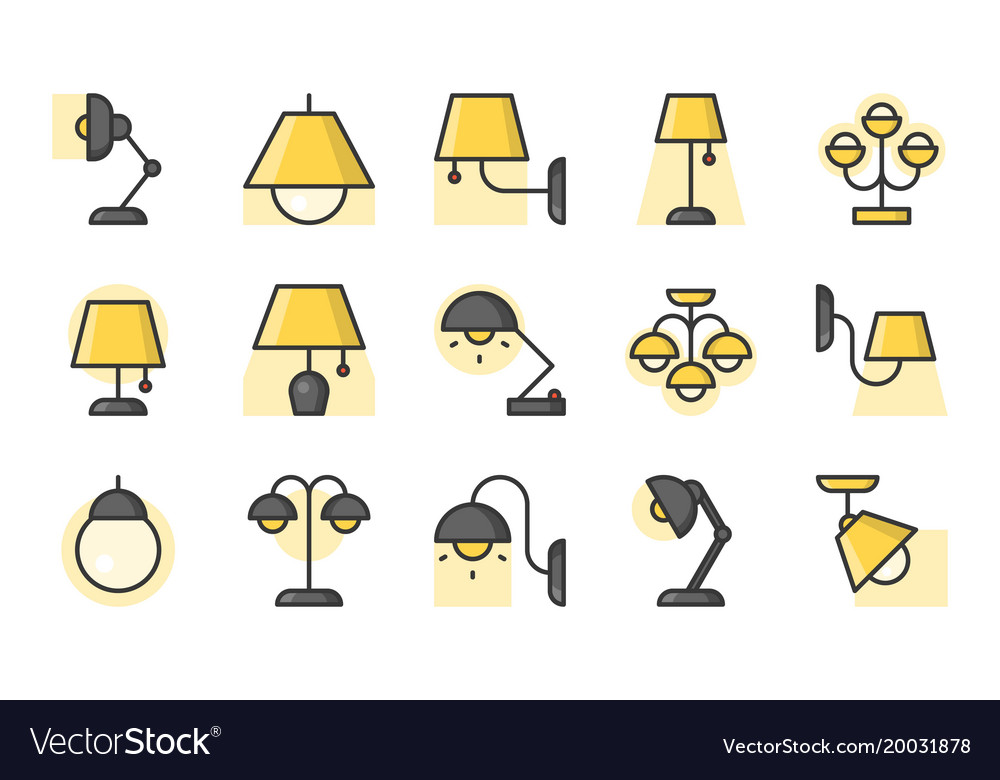 Set of lamp icon filled outline icon