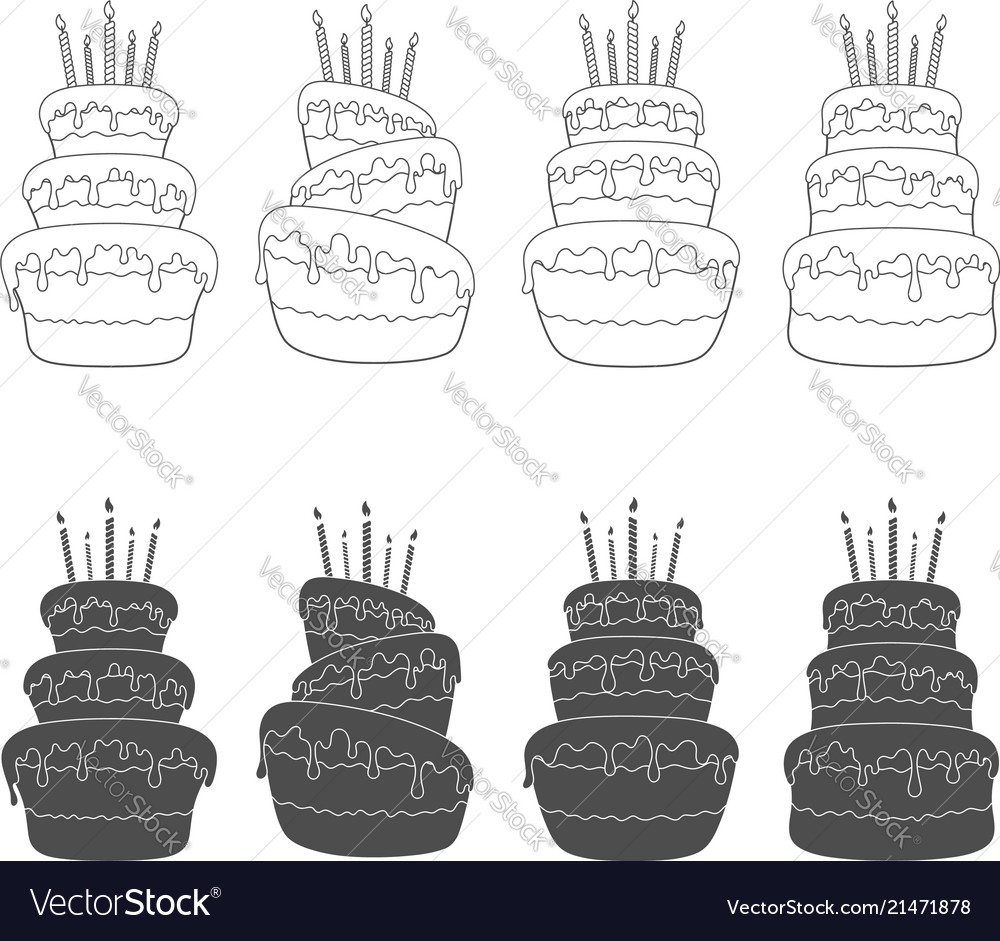 Set of with a birthday cake