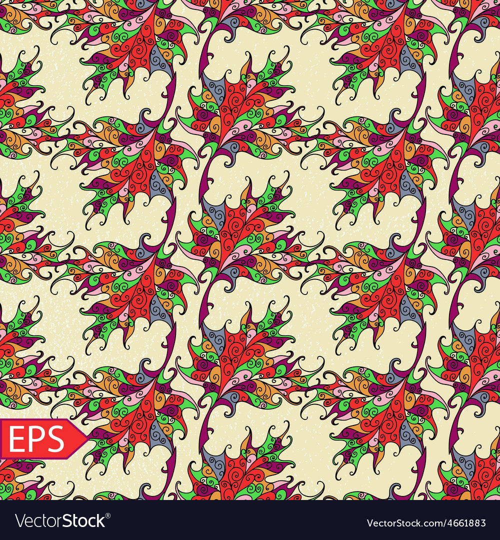 Abstract autumn leaf seamless background vector image