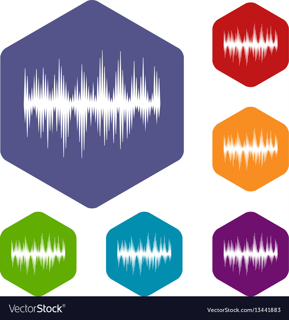 Audio digital equalizer technology icons set vector image