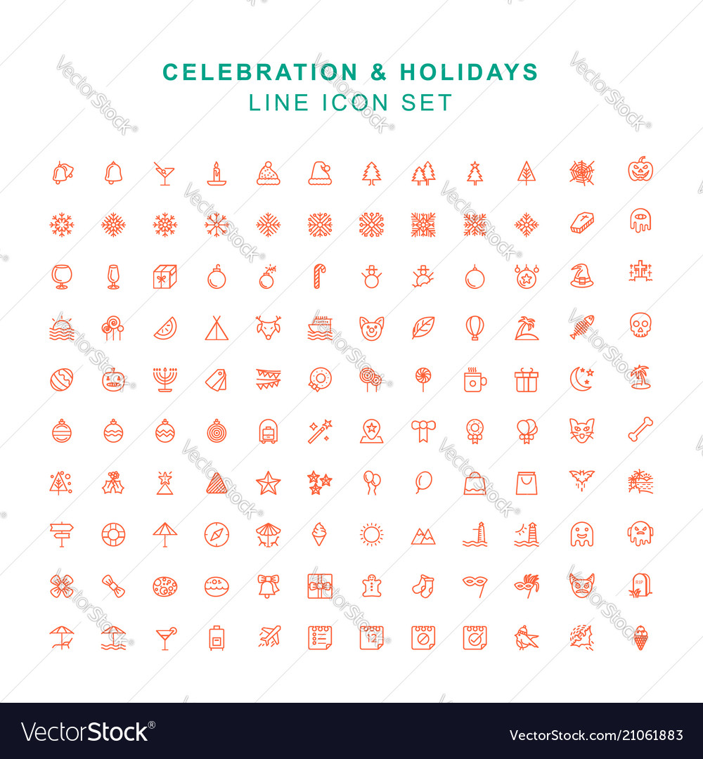 Celebration and holidays line icon set vector