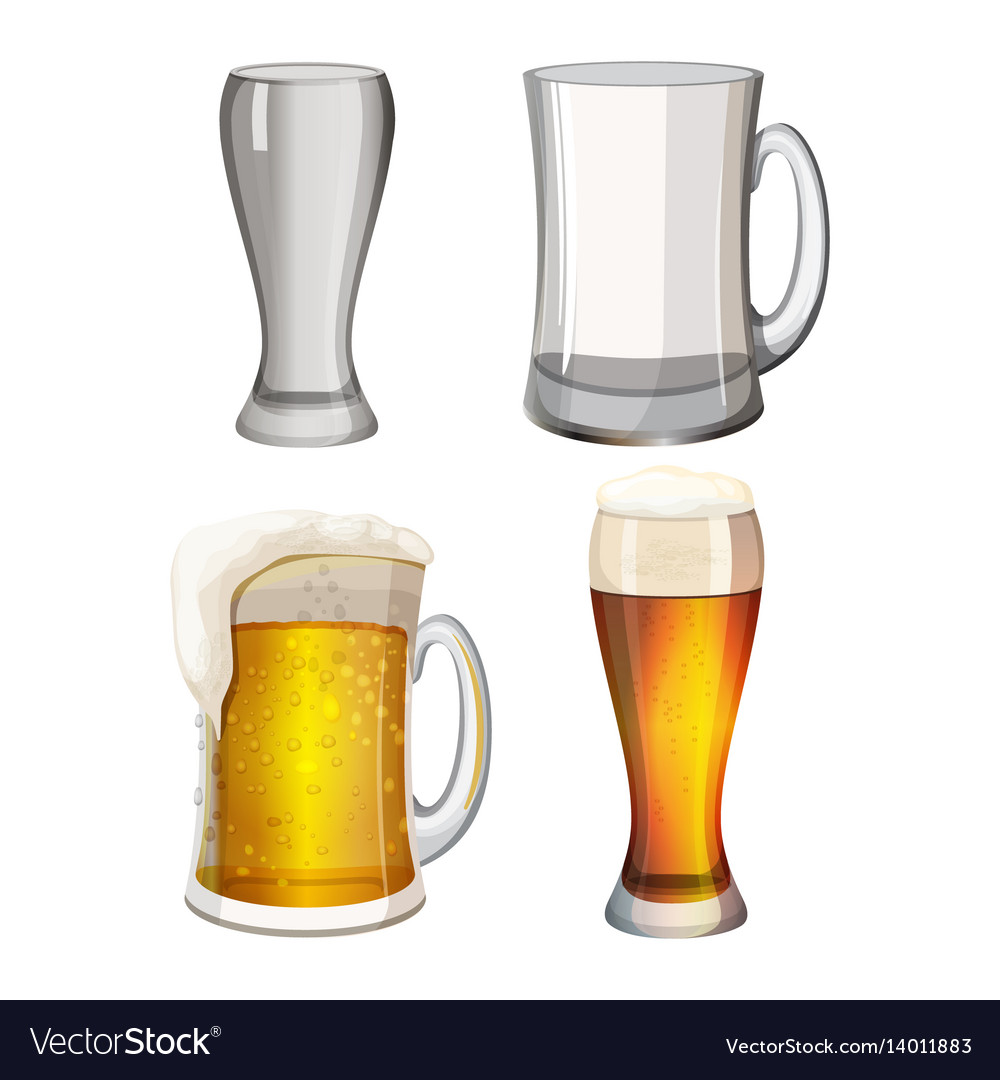 Collection of empty beer mugs and with light