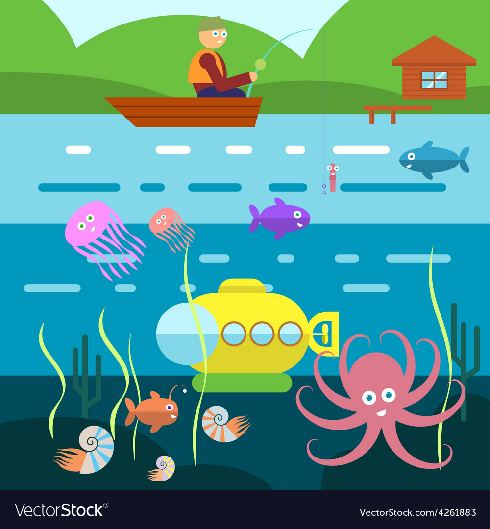 Flat Style Underwater Life with Fisherman on a