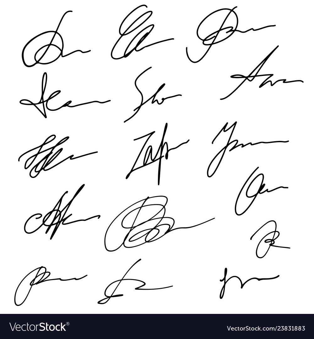 Hand drawn abstract signature set business sign