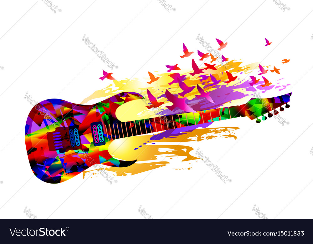 Music background with acoustic guitar and birds