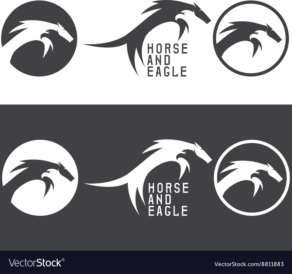 Negative space concept with eagle and horse