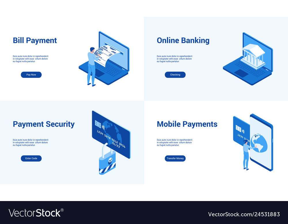 Online banking blue templates