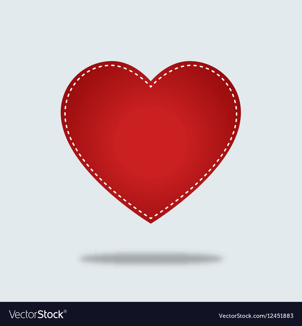 Red heart Icon with stiches