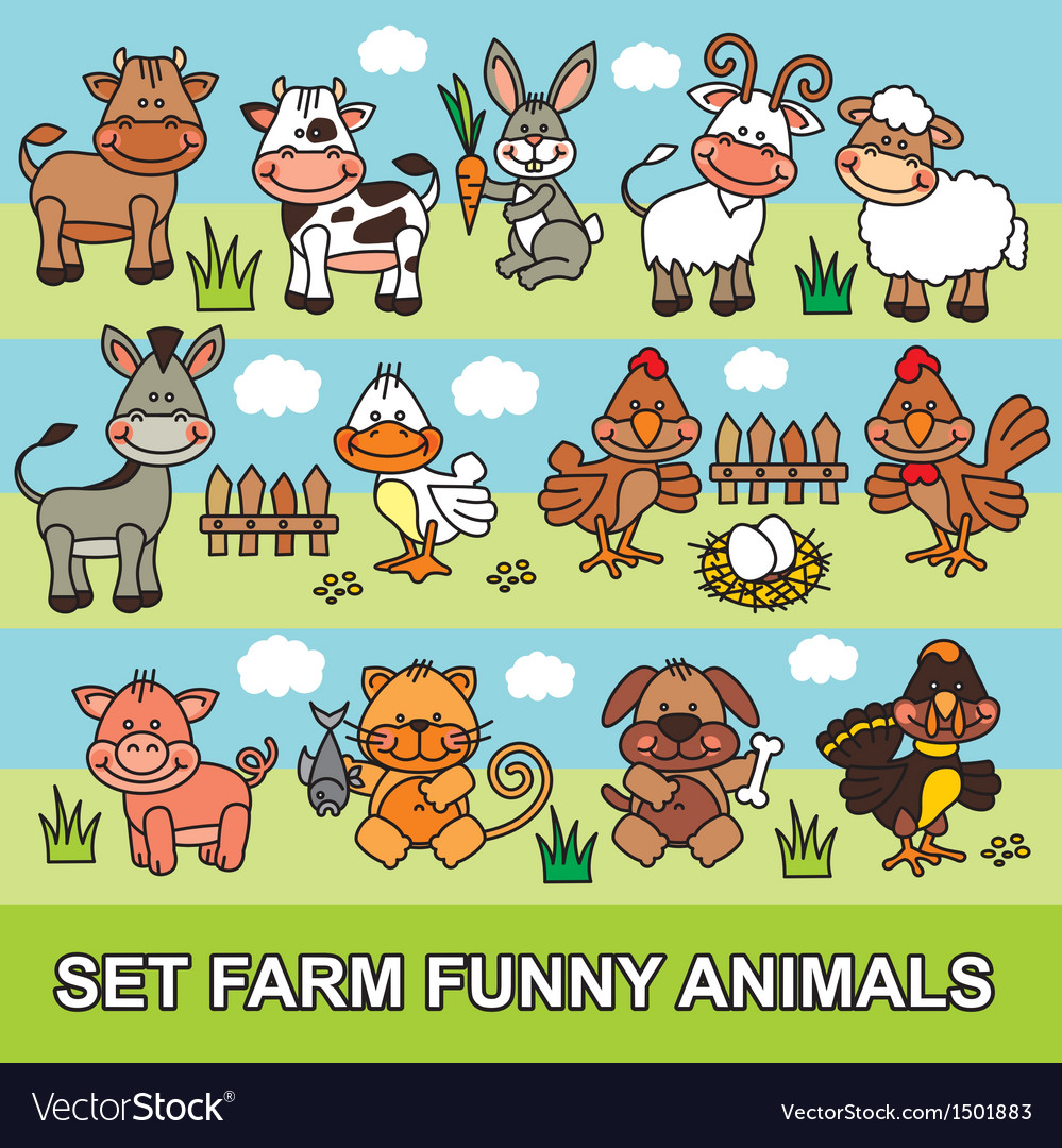 Set farm funny animals