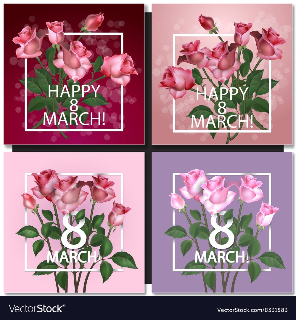 Set of Abstract Purple Floral Greeting card vector image