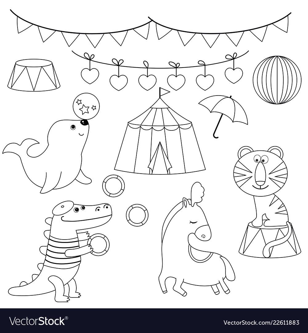 Set of circus animals set of circus animals