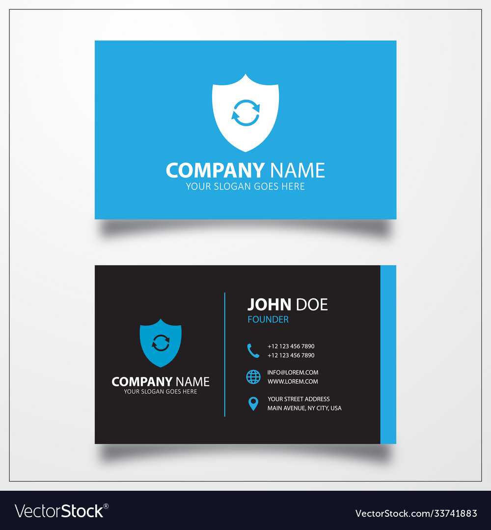 Shield refresh icon business card template