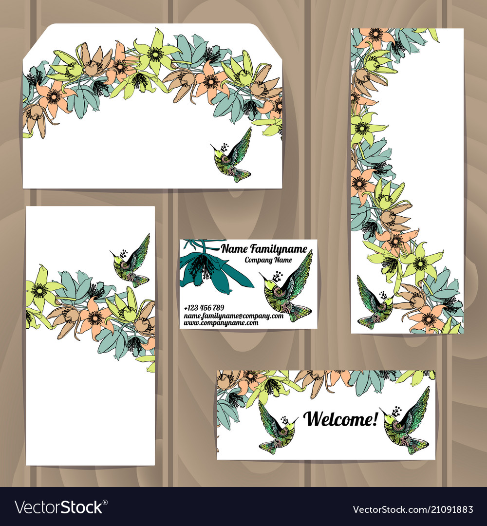 Templates with floral decoration and colibri bird