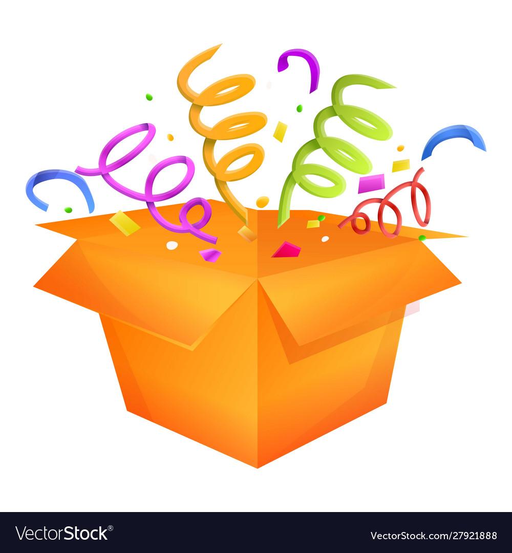 Birthday gift box icon cartoon style Royalty Free Vector
