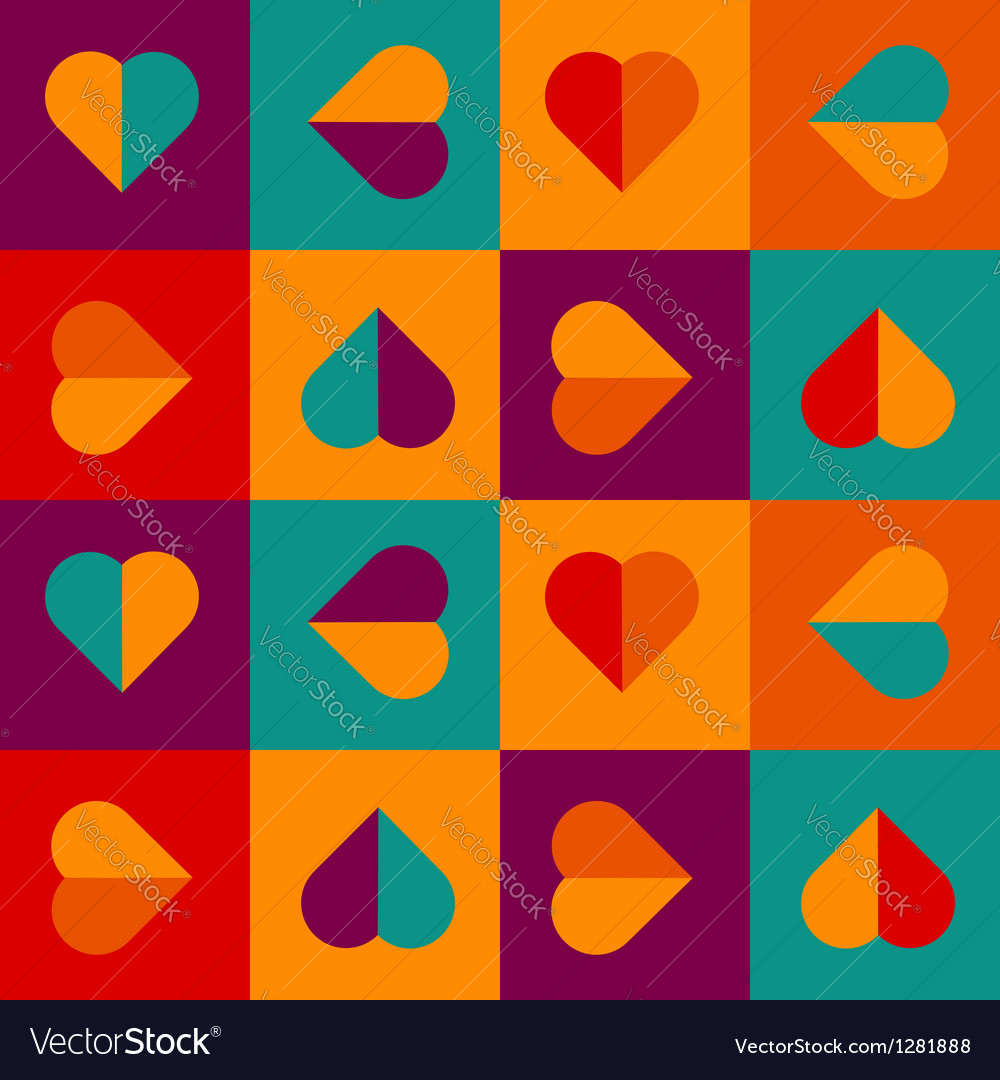 Colorful love pattern with hearts