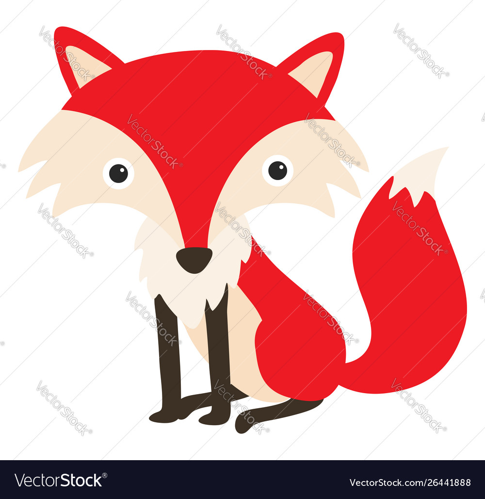 Funny fox on white background