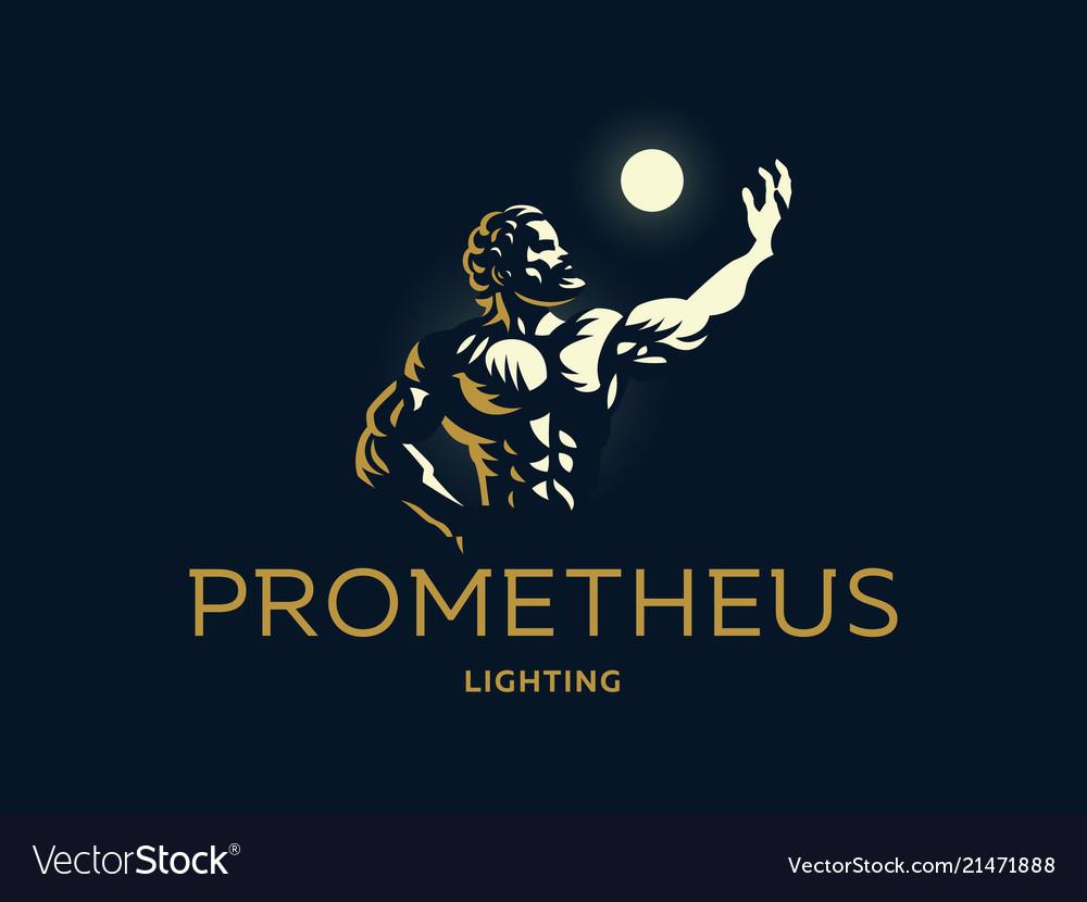 Greek hero prometheus light in the hand