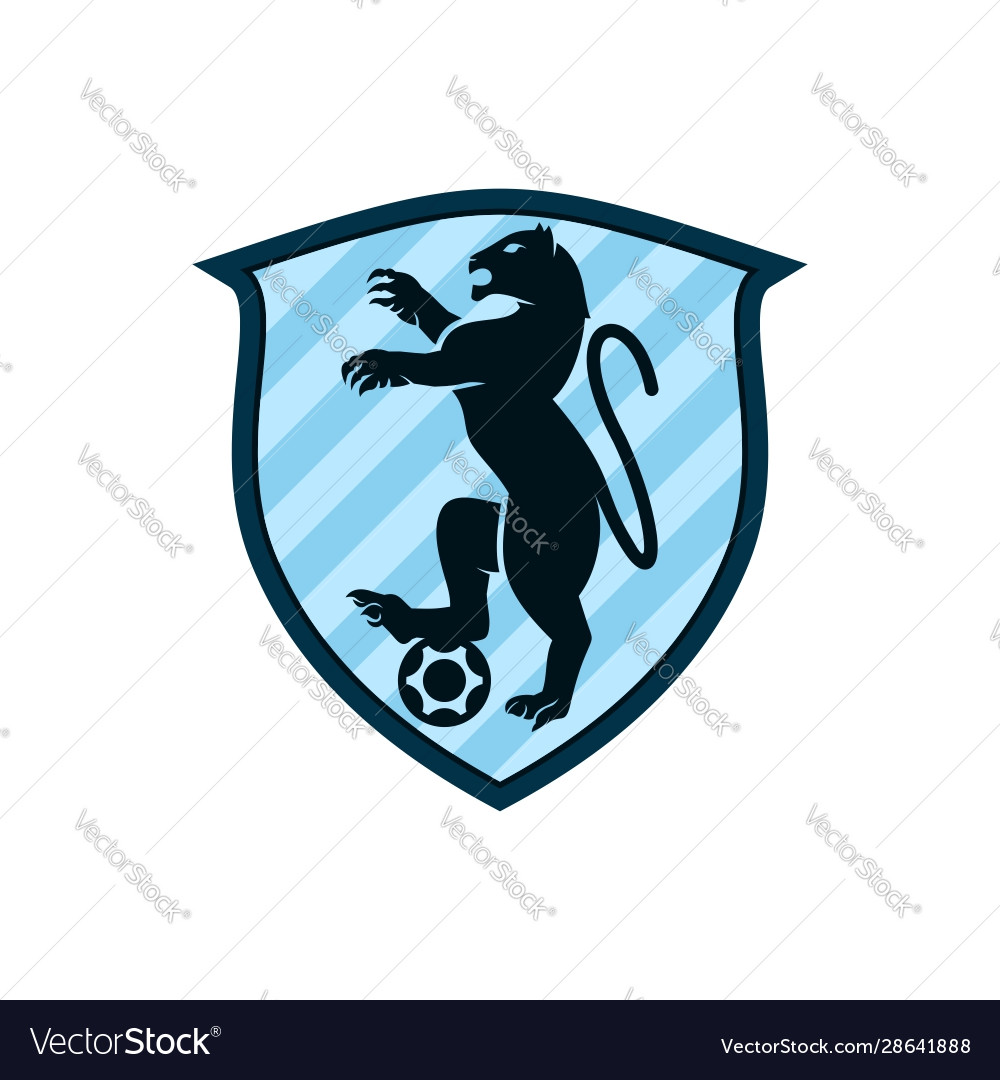 Leopard logo template with shield badge in flat