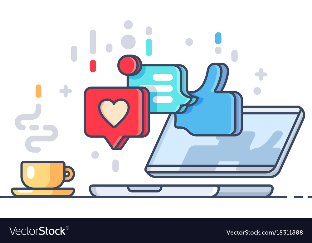 Likes and comments on social network vector image