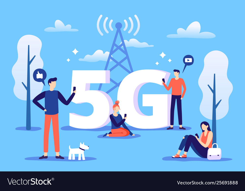 Mobile 5g connection people with smartphones use