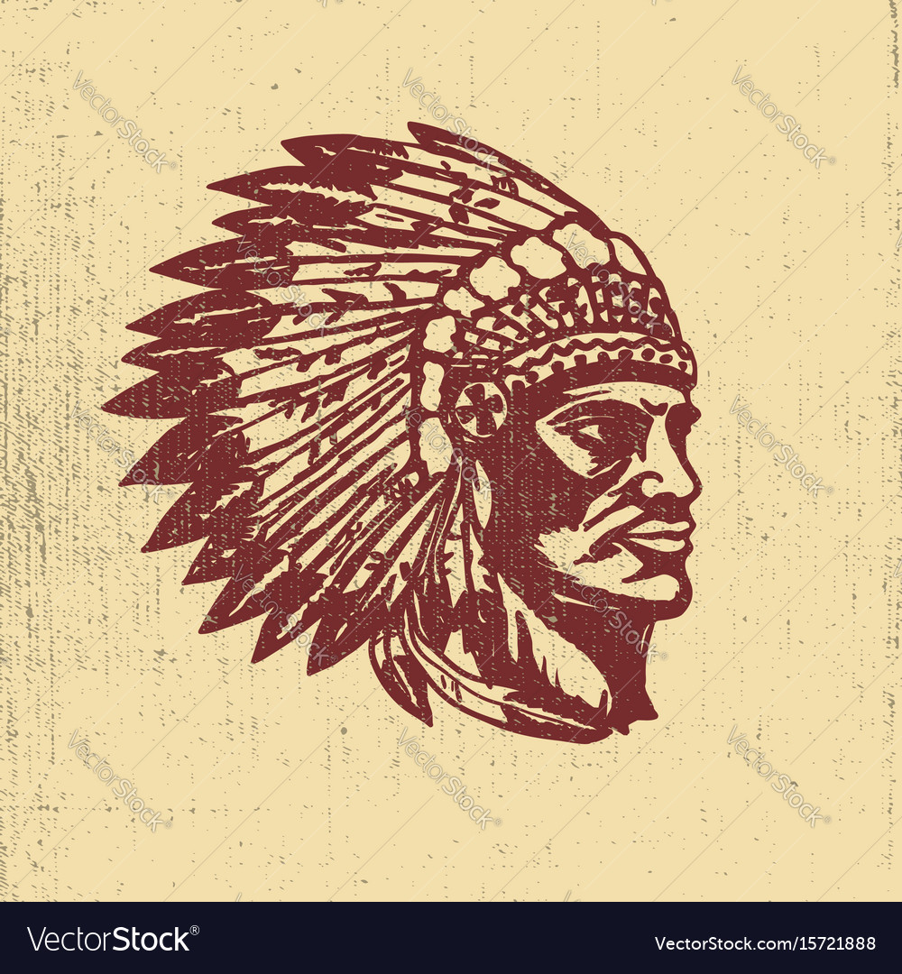 Native american chief head design elements for