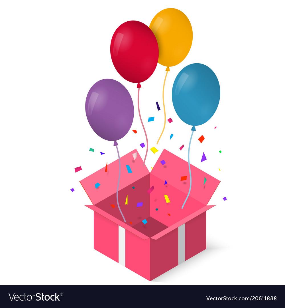 Open gift box with as balloon eps vector image