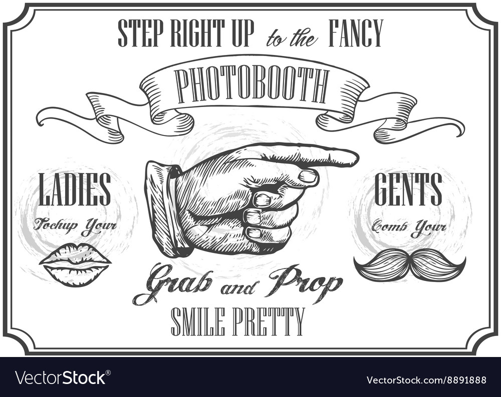 Photobooth pointer sign photo booth props