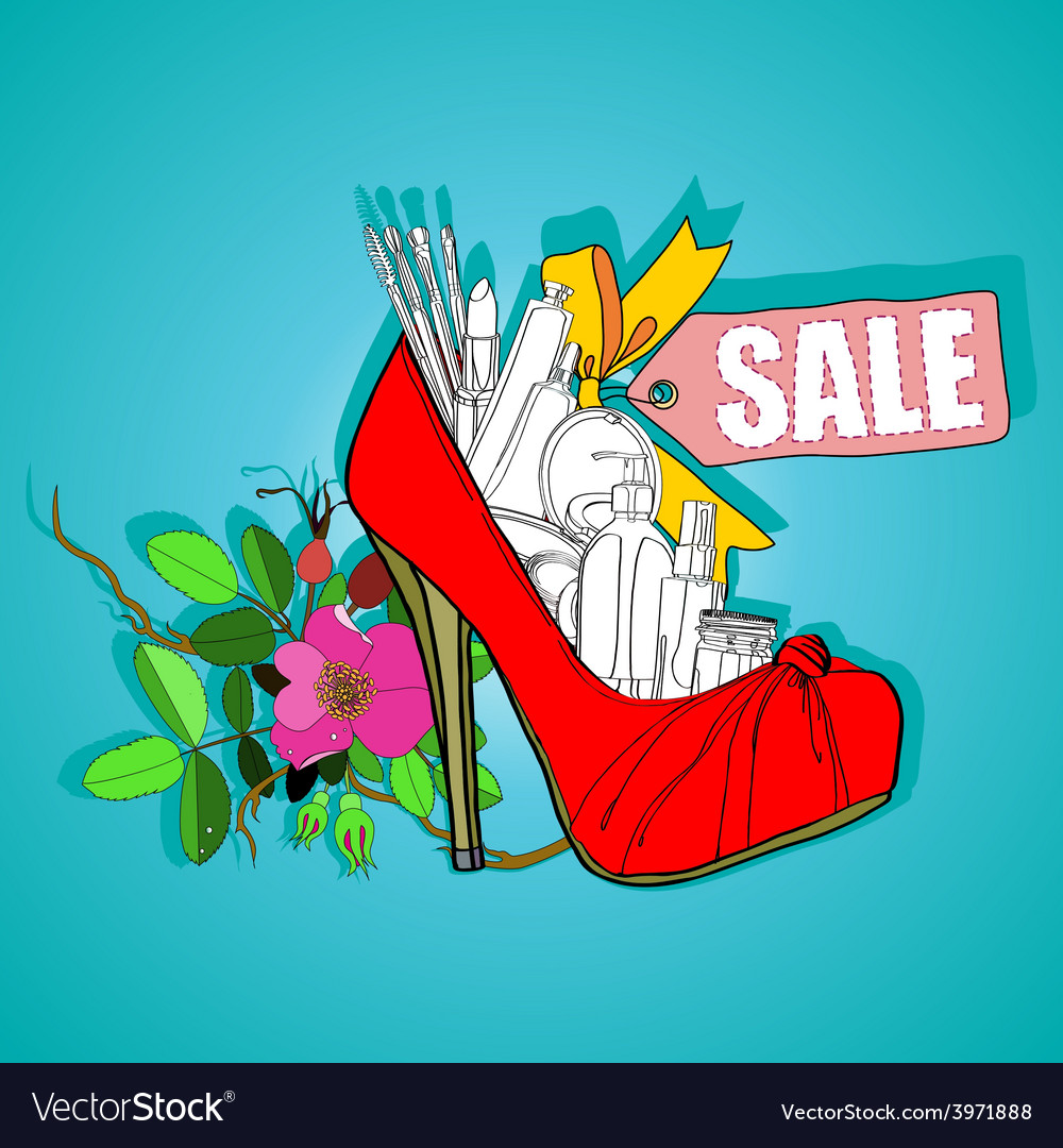womens shoes and cosmetics Vector Image
